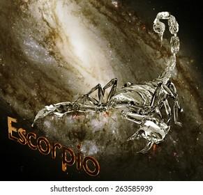 Horoscope zodiac 3d sign Scorpio. 3d illustration on background of a galaxy
