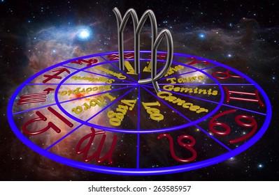 Horoscope zodiac 3d sign Virgo. 3d illustration on background of a galaxy