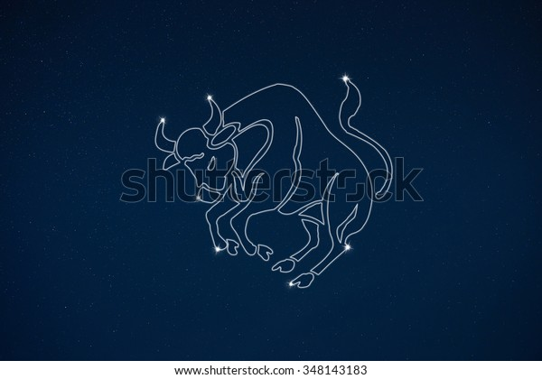 Horoscope Zodiac Sign Taurus Dark Sky Stock Illustration