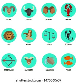 Horoscopes symbols set. Flat colored icon.