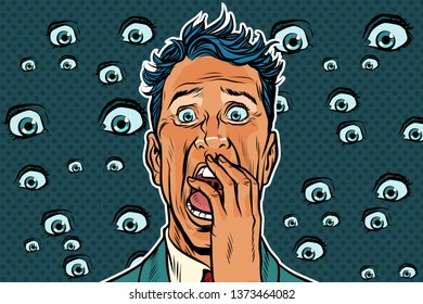 Horrible background with eyes and a frightened man. Pop art retro  illustration