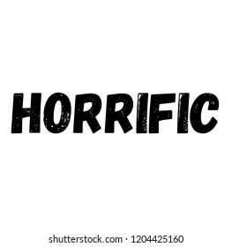 horrific label on white background