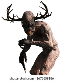 A horrifiying monster with pale skin, long claws, sharp teeth, and an elongated head with antlers stands before you glaring with dark eys.  Meet the Wendigo. 3D Rendering
