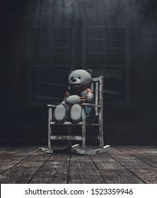 Horror bear toys on old chair,3d illustration
