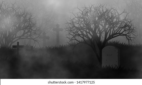 Horror cemetery concept illustration design background for Halloween with gravestones on graveyard and creepy forest covered by fog.