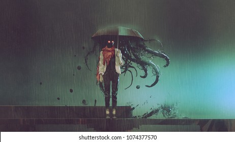 horror concept of mystery woman holding the umbrella with black tentacles inside in the rainy night, digital art style, illustration