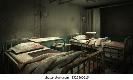 horror and creepy ward room in the hospital .3D rendering