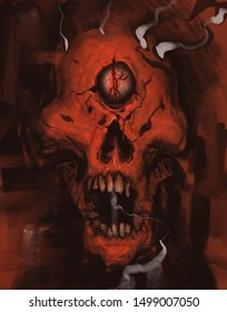 Horror demon skull screaming and surrounded by magic - digital fantasy painting