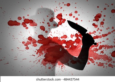 Horror scene of Man with hut and knife behind stained or dirty window glass with blood drops. Serial killer or violence concept background