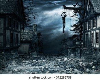 Horror scenery with old abandoned village, hanging man and rats