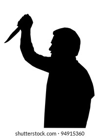 Horror Silhouette of Man with Knife Stabbing Victim