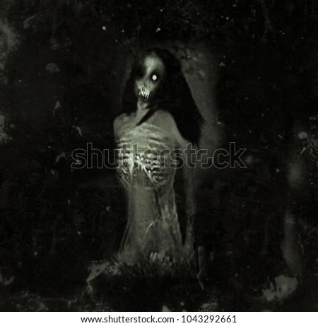 Horror Spooky Wallpaper With Scary Ghost Woman Halloween Background
