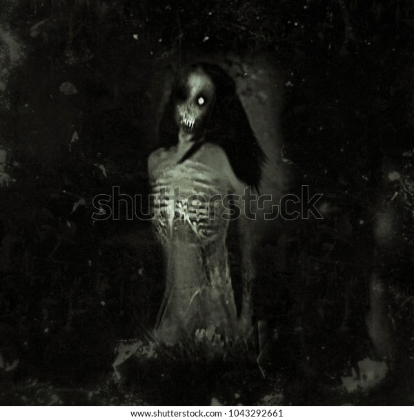 Horror Spooky Wallpaper Scary Ghost Woman Stock Illustration 1043292661