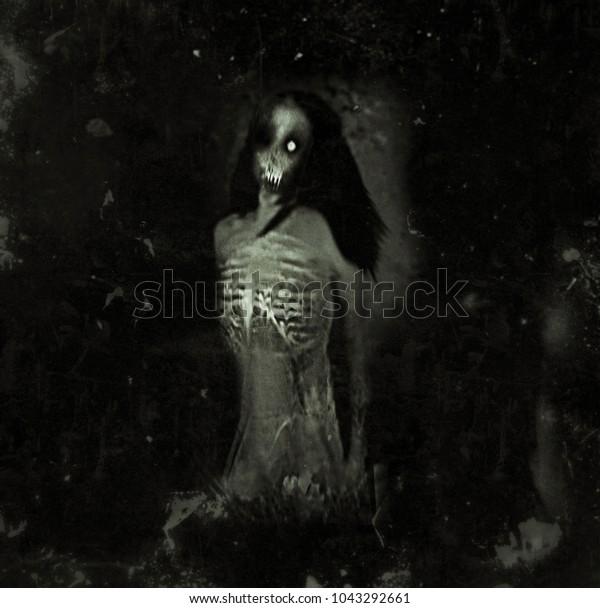 Halloween Spooky Wallpaper.Horror Spooky Wallpaper Scary Ghost Woman Stock Illustration