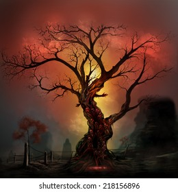 Horror tree on a haunted crimson land. Scary horror tree with zombie and monster demon faces.