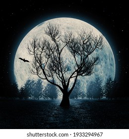 Horror View Silhouette of Dead Tree in front of Blue Big Moon Sky background. 3d Rendering