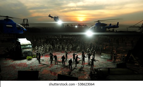 horror zombie crowd walking. Apocalypse view, concept. 3d rendering.