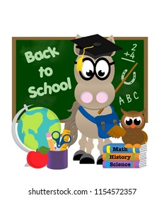 "Horse with book bag standing in front of a blackboard that says ""back to school"", and next to a globe, pencil cup, apple, and school books with an owl on top of them."