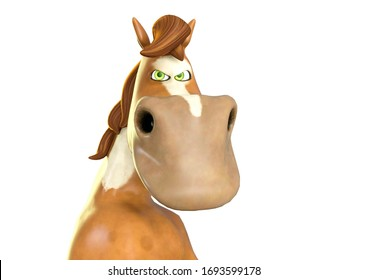 horse cartoon is angry on white background, 3d illustration