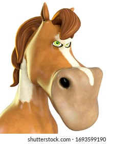 horse cartoon is a little bit angry on white background close up, 3d illustration