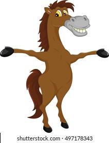 horse cartoon waving