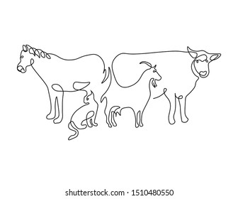 Horse cow cat and goat in same continuous line art