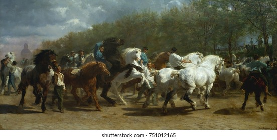 THE HORSE FAIR, by Rosa Bonheur, 1852-55, French painting, oil on canvas. The horse market in Paris on the Boulevard de l\x90Hopital was painted over a period of 3 years. When sketching on site for