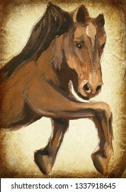 Horse. An hand painting - medieval inspiration. Vintage post-processing.