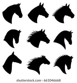 Horse head silhouettes. Black silhouette head horse, illustration of head wild stallion