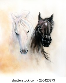 Horse heads, two black and white horse spirits, beautiful detailed oil painting on canvas, abstract ocre background