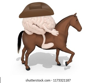 horse with human brains above him, 3d illustration