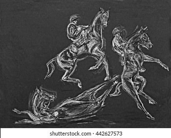 horse and jockey drawings. Action images of a rearing and fallen horse.