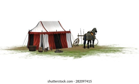 Horse and knight tent isolated on white background