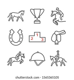 Horse line icons set. Equestrian. Sport signs for web graphics