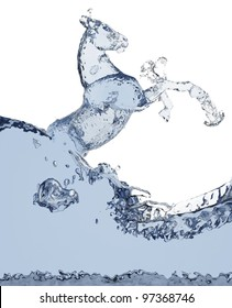 horse of liquid made in 3D graphics