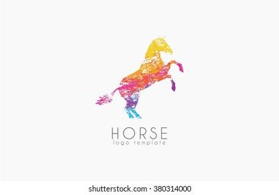 Horse logo emblem template. Creative logo. Colorful logo.