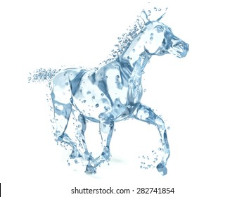 horse made of water. 3d illustration