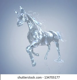horse in motion, the horse out of the water