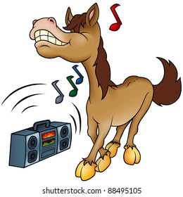 Horse and Music - cartoon illustration