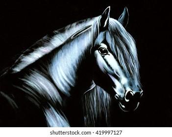 horse original oil painting on black velvet, impressionism thin brush drawing style,