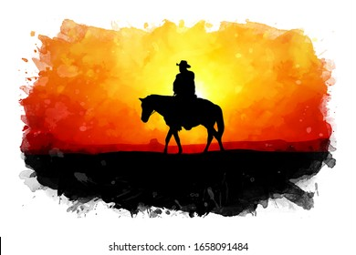 Horse riding at sunset watercolor illustration