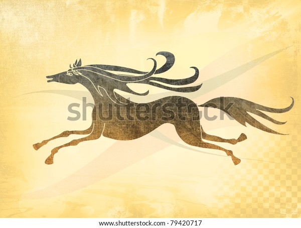 horse-running-joy-aged-drawing-600w-7942