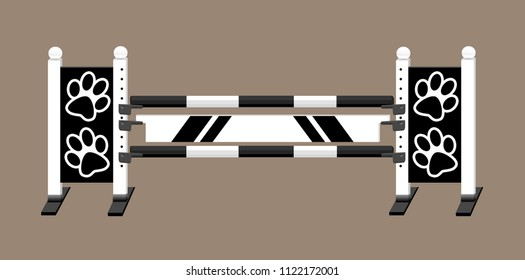 Horse show jump with striped rails and plank and animal paws on the jump standards.