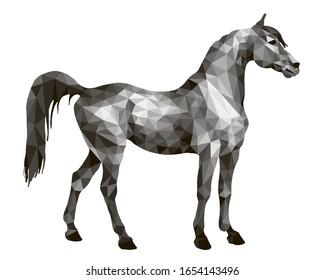 horse silver, isolated image on white background in low poly style