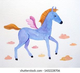 Horse sketch paper, pegasus in the clouds