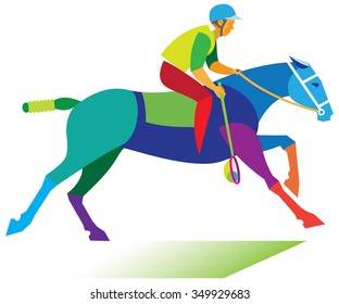 Horse sport. Young man is polocrosse player