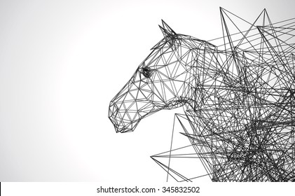 horse stylized low poly wire construction concept concepts connection