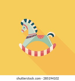 horse toy flat icon with long shadow