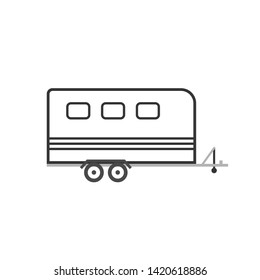 Horse trailer icon. Clipart image isolated on white background