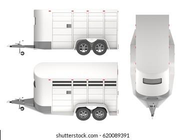 Horse trailer isolated on white. 3d rendering